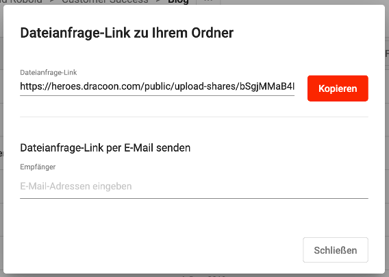 DRACOON - Dateianfrage-Link