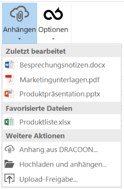 DRACOON für Outlook - Anhang