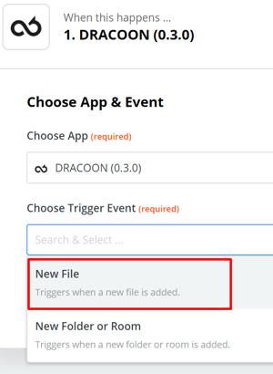 DRACOON und Zapier - über neue Dateien (Event) in DRACOON (App) informiert werden