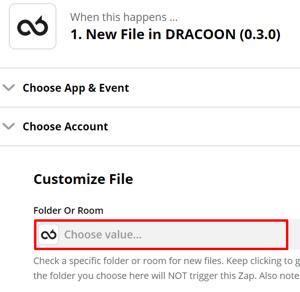 DRACOON und Zapier - Datenraum auswählen