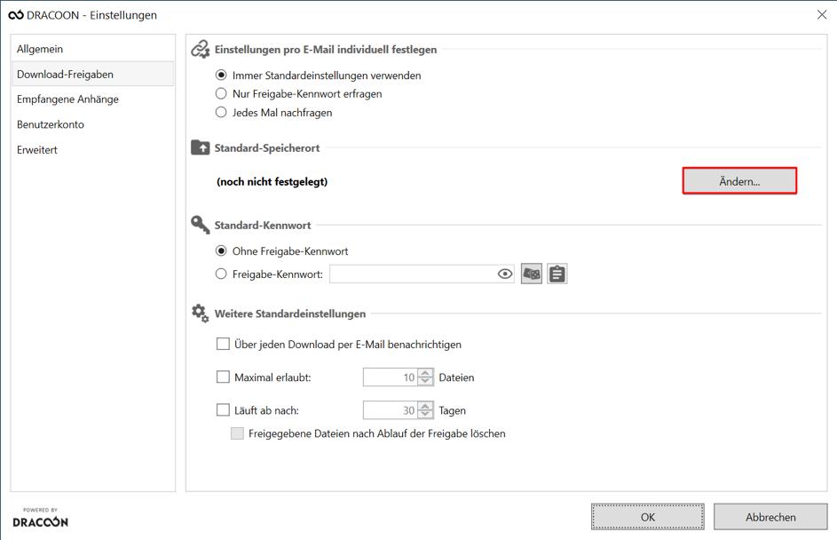 DRACOON für Outlook - Einstellungen