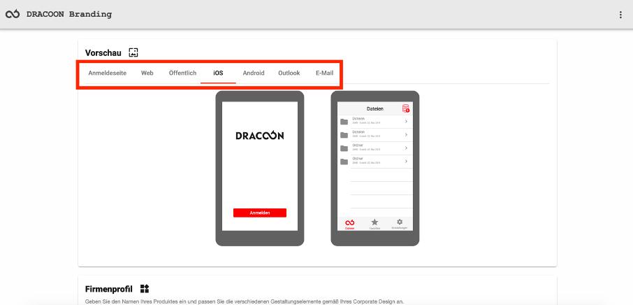 DRACOON Branding Client-Übersicht