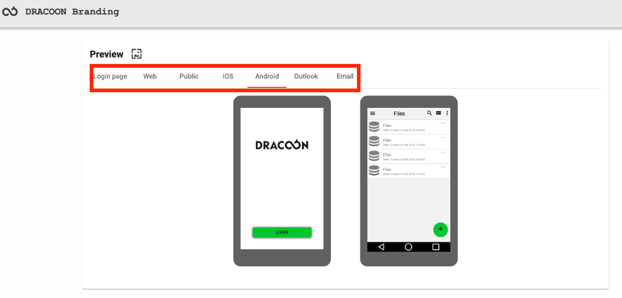 DRACOON Branding Client overview